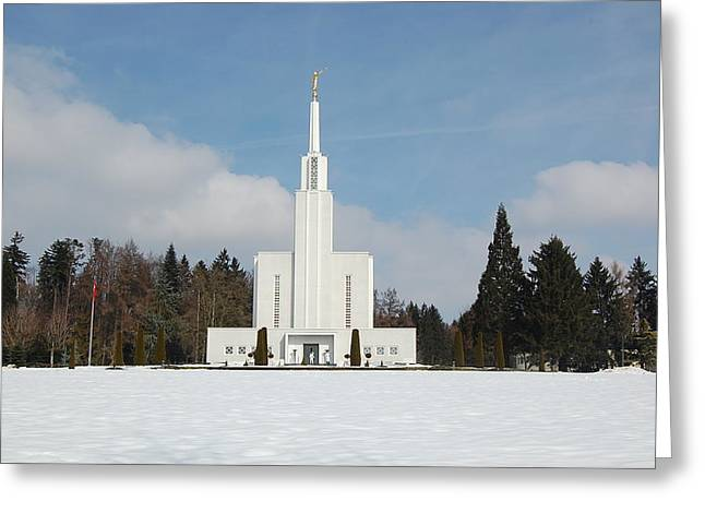 Swiss Temple Greeting Card by Leslie Thabes
