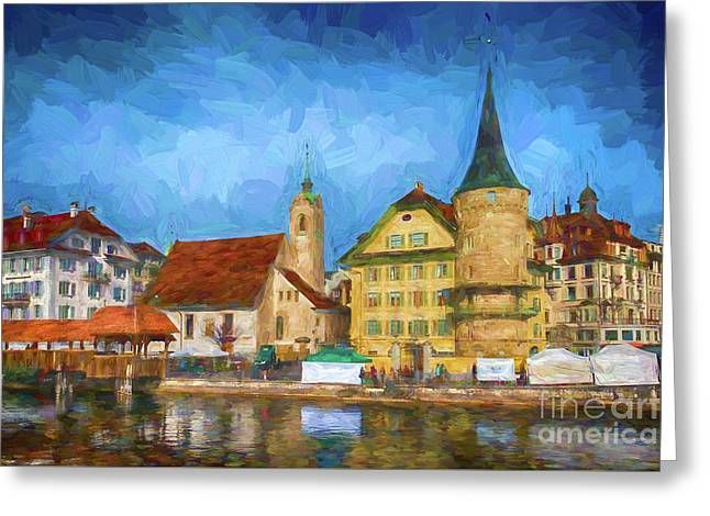 Swiss Town Greeting Card by Pravine Chester