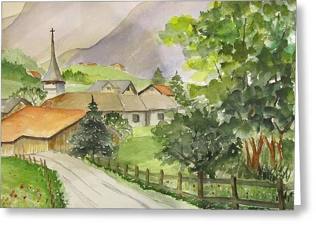 Swiss Village Greeting Card by Heidi Patricio-Nadon