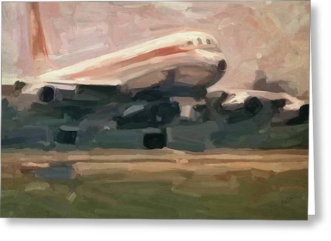 Swissair Convair Cv-990 Landing Greeting Card by Nop Briex