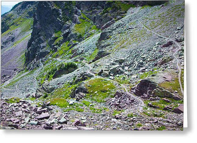 Switchbacks Below Comeau Pass Greeting Card