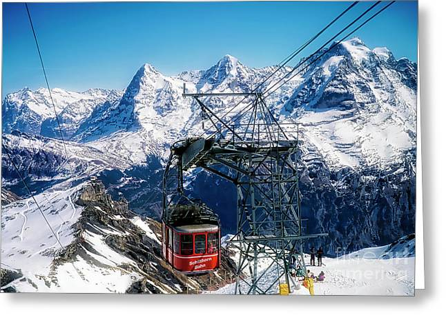 Switzerland Alps Schilthorn Bahn Cable Car  Greeting Card