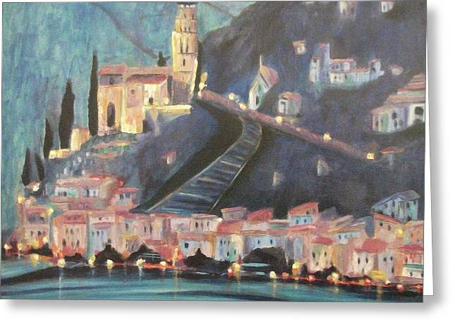 Switzerland By Night Greeting Card by Suzanne  Marie Leclair
