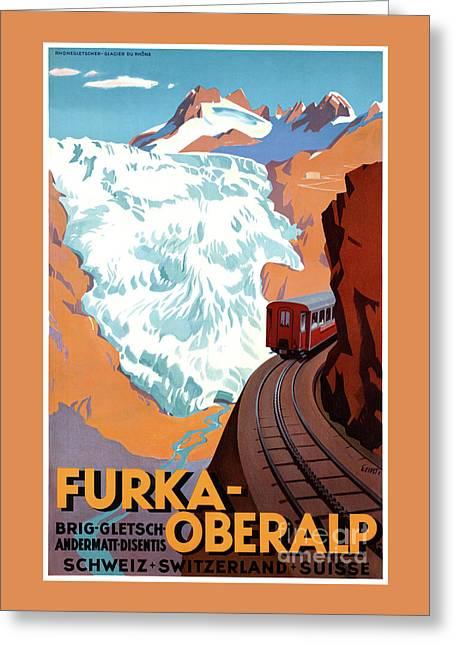 Switzerland Furka Oberalp Vintage Poster Restored Greeting Card