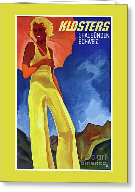 Switzerland Graubuenden Vintage Poster Restored Greeting Card by Carsten Reisinger