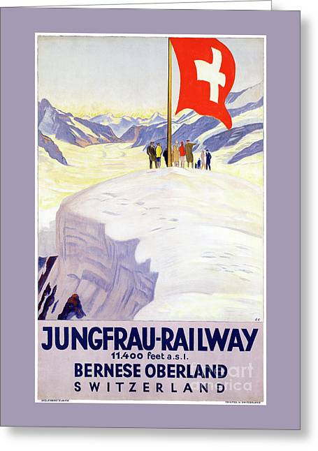 Switzerland Jungfrau Railway Vintage Poster Greeting Card by Carsten Reisinger