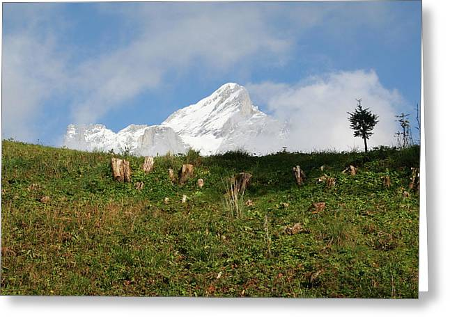 Switzerland Snow Capped Alps Landscape Greeting Card