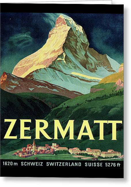 Switzerland Travel Poster Greeting Card by Long Shot
