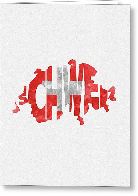 Switzerland Typographic Map Flag Greeting Card