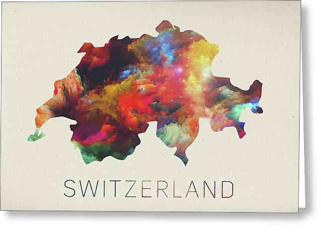 Switzerland Watercolor Map Greeting Card