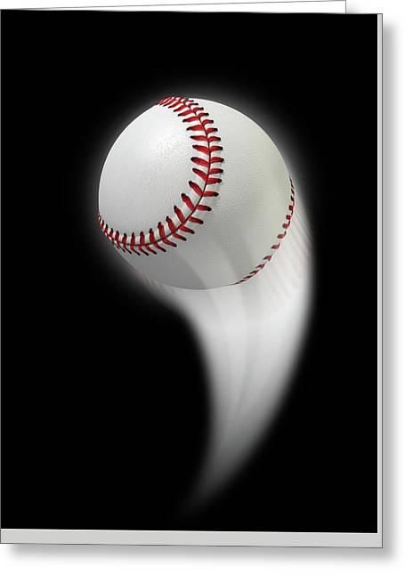 Swooshing Ball Greeting Card by Allan Swart