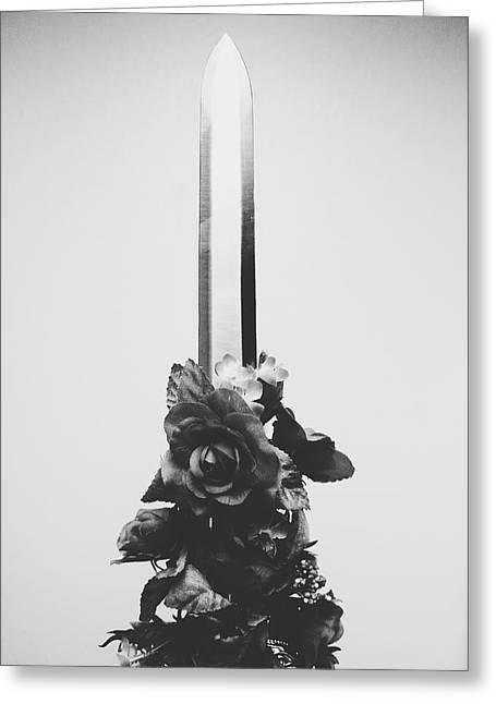 Sword And Rose Greeting Card
