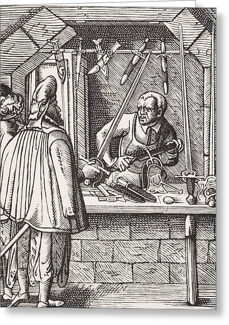 Sword Maker. 19th Century Reproduction Greeting Card