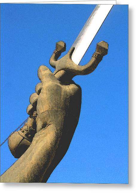 Sword Monument Detail Greeting Card by Gary Hughes