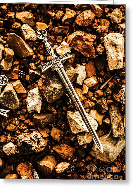 Swords And Legends Greeting Card by Jorgo Photography - Wall Art Gallery