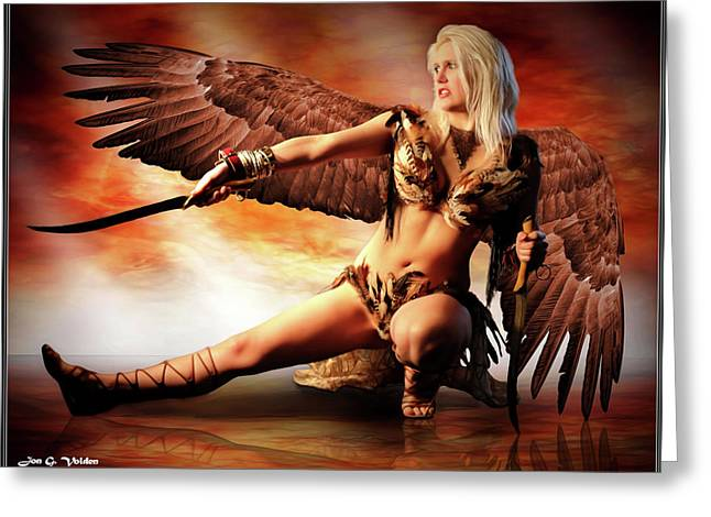 Swords Of The Hawk Woman Greeting Card