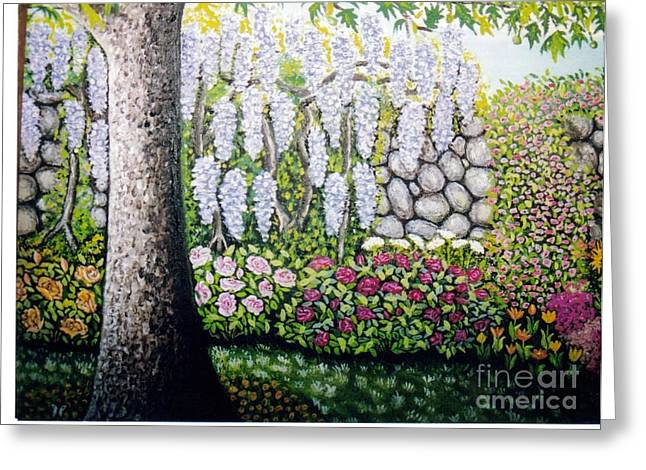 Sycamore Garden Greeting Card by William Ohanlan