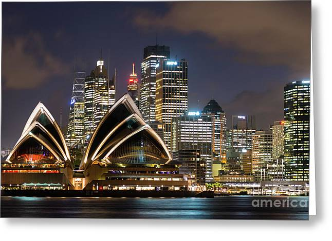 Sydney After Dark Greeting Card by Andrew Michael