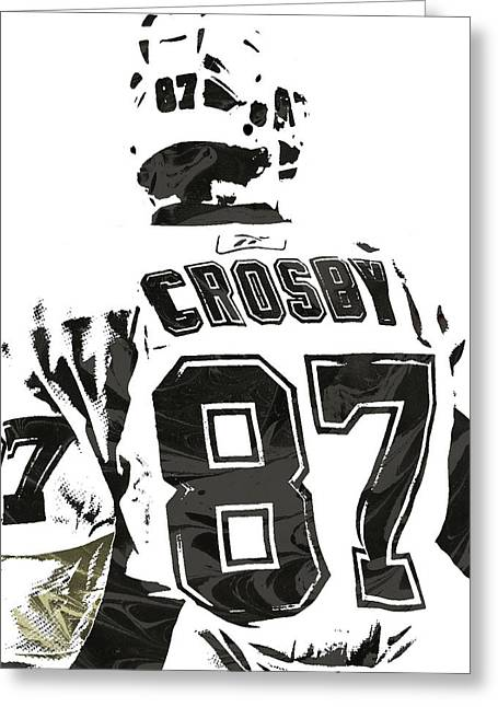 Sydney Crosby Pittsburgh Penguins Pixel Art 2 Greeting Card by Joe Hamilton