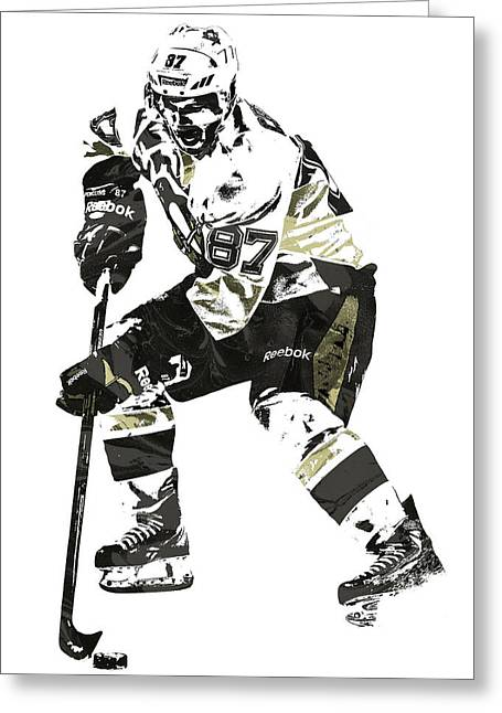 Sydney Crosby Pittsburgh Penguins Pixel Art3 Greeting Card by Joe Hamilton