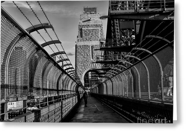 Sydney Harbor Bridge Bw Greeting Card