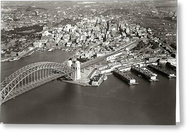 Sydney Harbour Bridge And City From North Sydney Greeting Card by Celestial Images