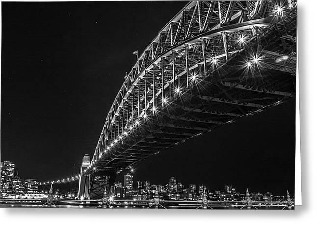 Sydney Harbour Bridge At Night Greeting Card