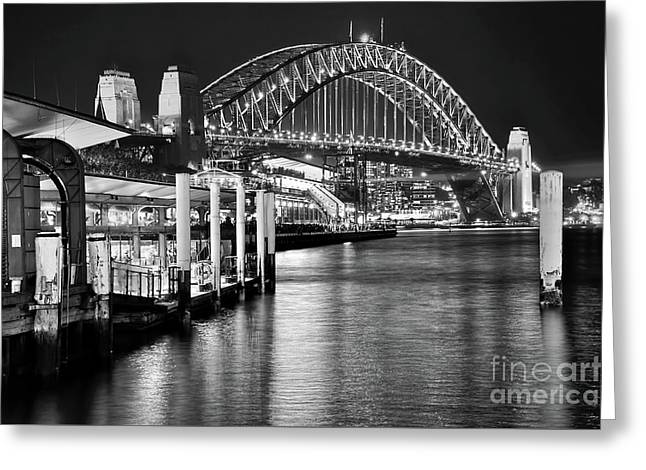 Sydney Harbour Bridge Black And White By Kaye Menner Greeting Card