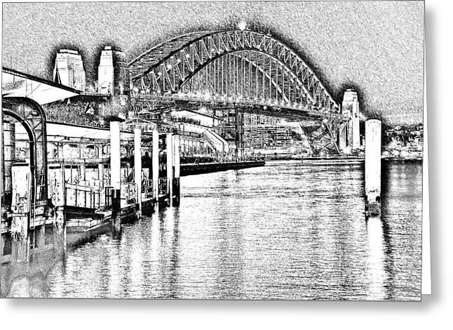 Sydney Harbour Bridge Pencil Sketch 2 By Kaye Menner Greeting Card