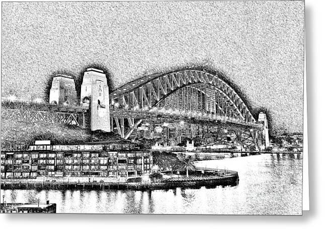 Sydney Harbour Bridge Pencil Sketch By Kaye Menner Greeting Card by Kaye Menner