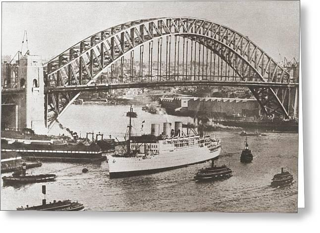 Sydney Harbour Bridge, Sydney Greeting Card by Vintage Design Pics