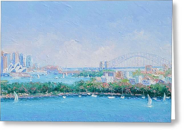Sydney Harbour Bridge - Sydney Opera House - Sydney Harbour Greeting Card by Jan Matson