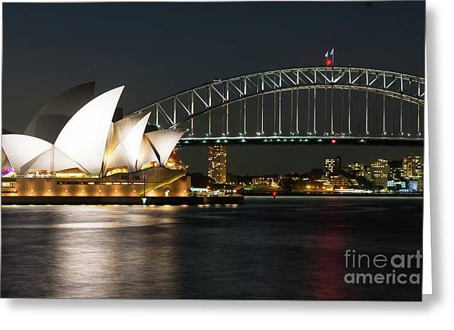 Sydney Opera House And Bridge Greeting Card by Andrew Michael