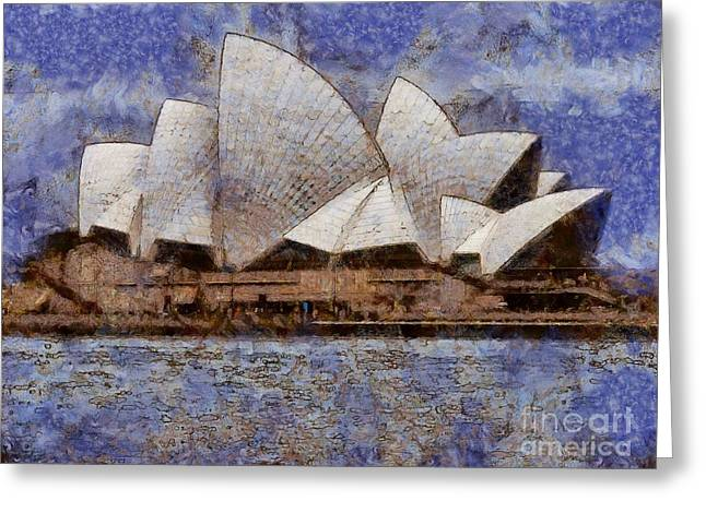 Greeting Card featuring the digital art Sydney Opera House by Fran Woods