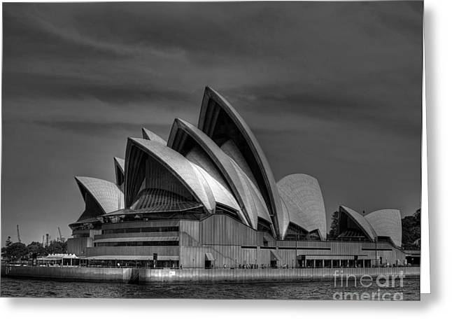 Sydney Opera House Print Image In Black And White Greeting Card by Chris Smith