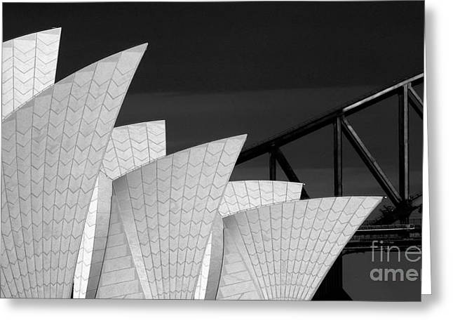 Sydney Opera House With Bridge Backdrop Greeting Card by Avalon Fine Art Photography