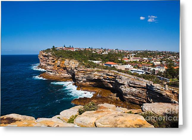 Sydney Sandstone Clifftop Greeting Card by John Buxton
