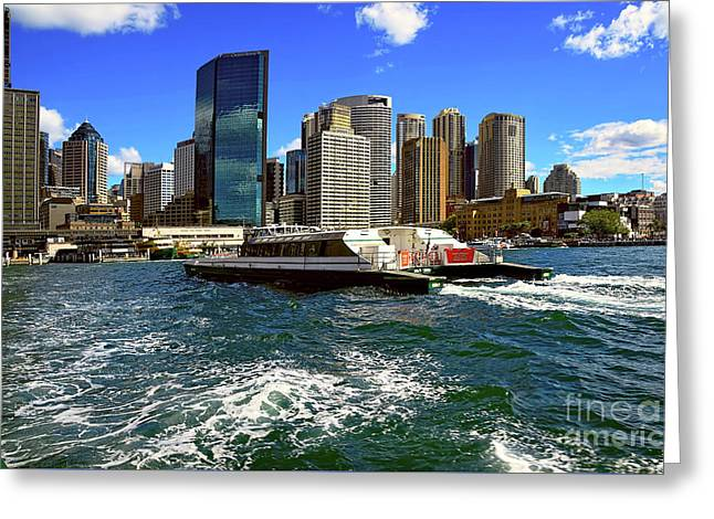 Sydney Skyline From Harbor By Kaye Menner Greeting Card