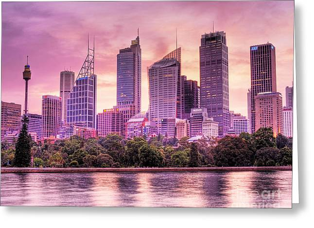 Sydney Tower Skyline At Sunset Greeting Card by Chris Smith