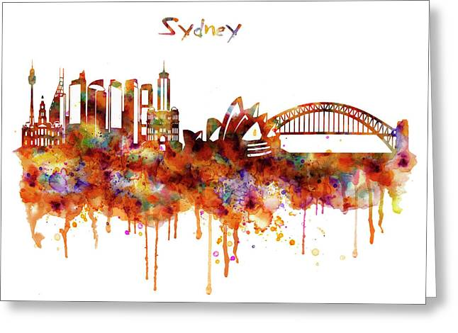 Sydney Watercolor Skyline Greeting Card by Marian Voicu