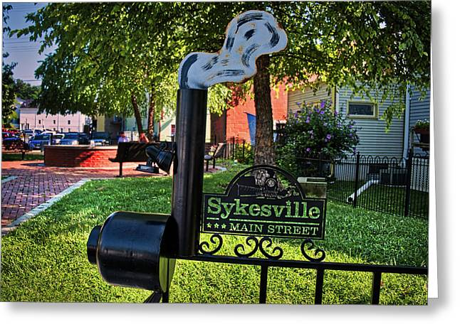 Greeting Card featuring the photograph Sykesville Main St Sign by Mark Dodd