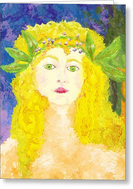Greeting Card featuring the painting Sylph Of Spring by Shelley Bain