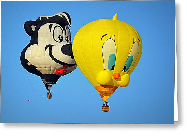 Greeting Card featuring the photograph Sylvester And Tweety Balloons by AJ Schibig