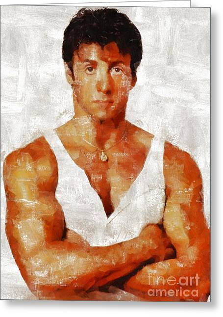 Sylvester Stallone, Hollywood Legend By Mary Bassett Greeting Card by Mary Bassett