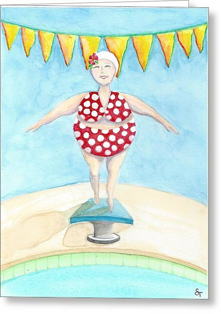 Sylvia At The Pool Greeting Card
