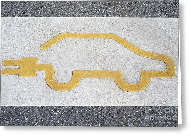 Symbol For Electric Car Greeting Card