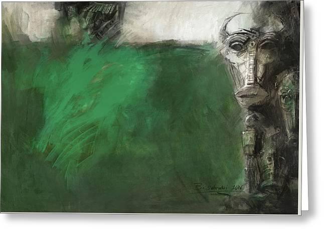 Symbol Mask Painting - 03 Greeting Card by Behzad Sohrabi