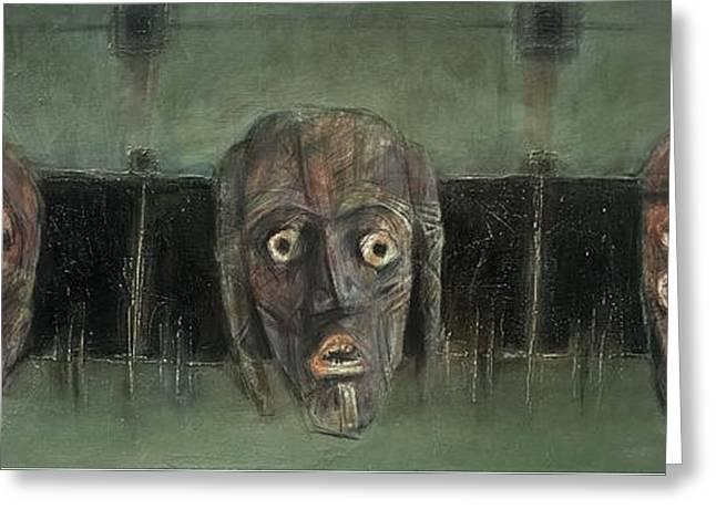 Symbol Mask Painting - 05 Greeting Card by Behzad Sohrabi