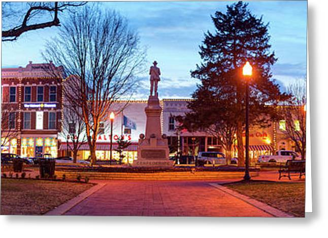 Symbol Of History - Bentonville Confederate Statue And Downtown Panorama Greeting Card