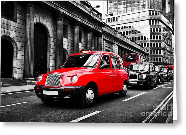 Symbol Of London, The Uk. Taxi Cab Known As Hackney Carriage Greeting Card